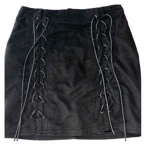 Black Suede Laceup Skirt